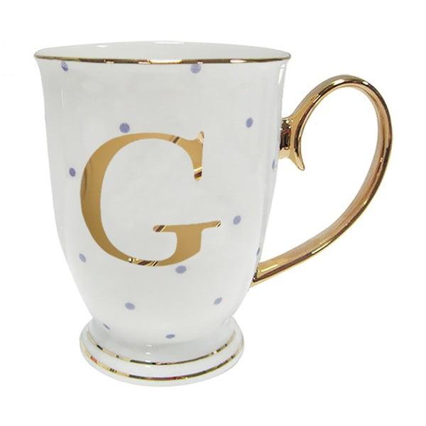 Písmenkový   hrnek G s fialovými puntíky