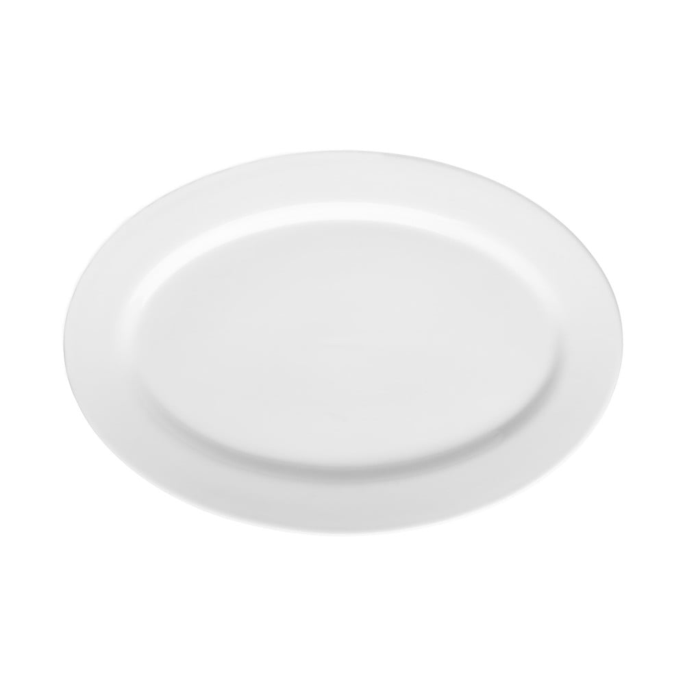 Bílý porcelánový talíř Price&Kensington Simplicity, 36 x 25 cm