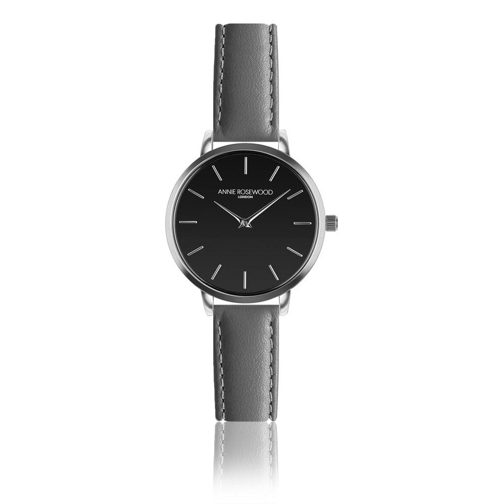 Černé hodinky skoženým řemínkem Annie Rosewood Gray Night