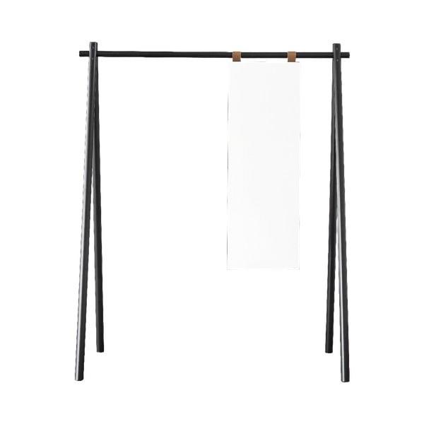 Oglindă suspendată cu cuier din lemn de pin Karup Design Hongi Black