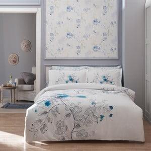 Povlečení TAC Simple White with Blue s prostěradlem, 160x220 cm