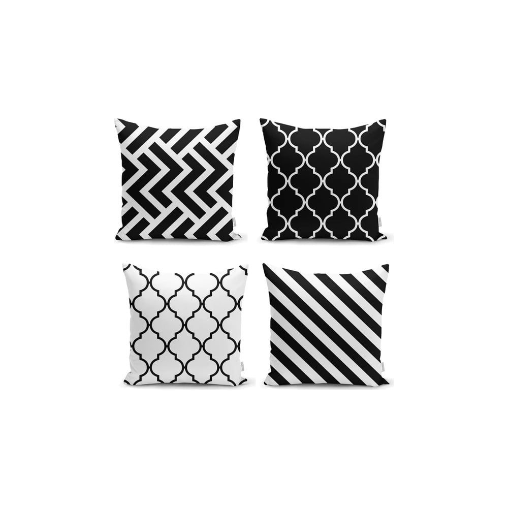 Sada 4 povlaků na polštáře Minimalist Cushion Covers BW Graphic Patterns 45 x 45 cm
