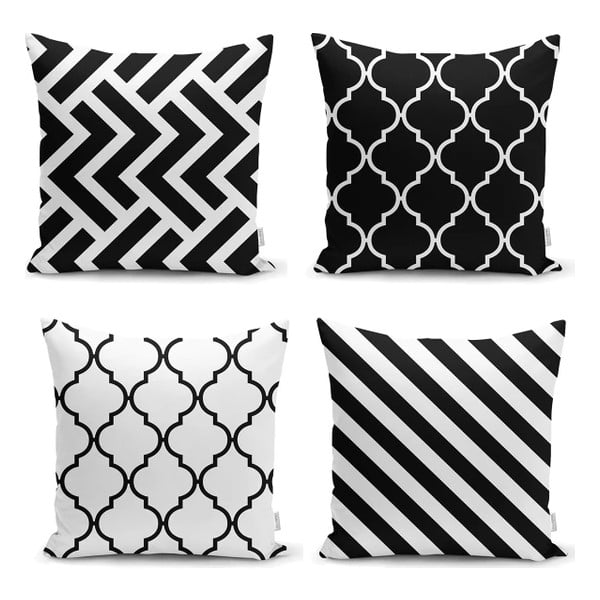 Sada 4 povlaků na polštáře Minimalist Cushion Covers BW Graphic Patterns, 45 x 45 cm