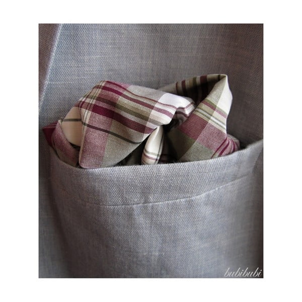 Khaki-fialový károvaný kapesníček do saka