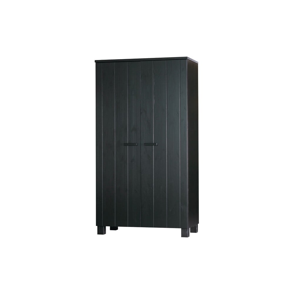 Černá šatní skříň s konstrukcí z borovicového dřeva WOOOD Dennis