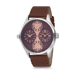 Pánské hodinky s hnědým koženým řemínkem a fialovým ciferníkem Daniel Klein