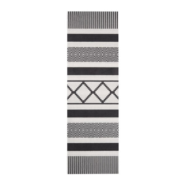 Czarno-szary chodnik kuchenny Hanse Home Lineo, 45x140 cm