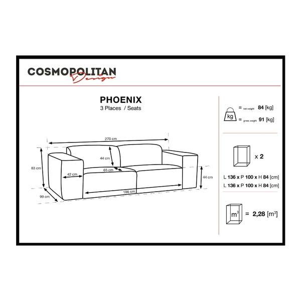 Světle hnědá trojmístná pohovka Cosmopolitan Design Phoenix