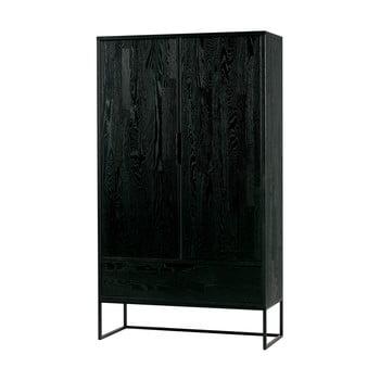 Dulap din lemn de stejar WOOOD Silas, înălțime145cm, negru