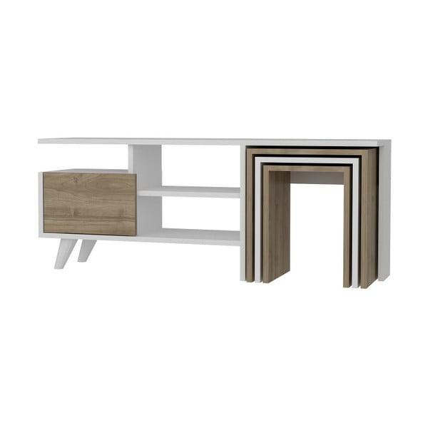 Set TV stolku a 3 zásuvných stolků s detaily v dekoru ořechového dřeva Garetto Nature