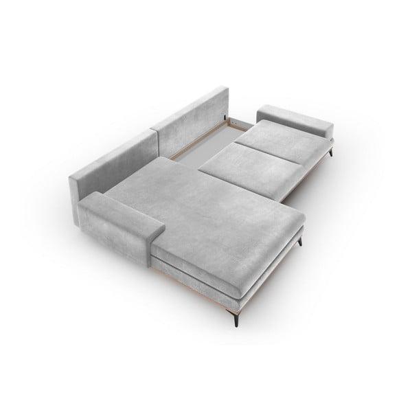 Canapea extensibilă cu înveliș de catifea Windsor & Co Sofas Astre, pe partea stângă, gri deschis