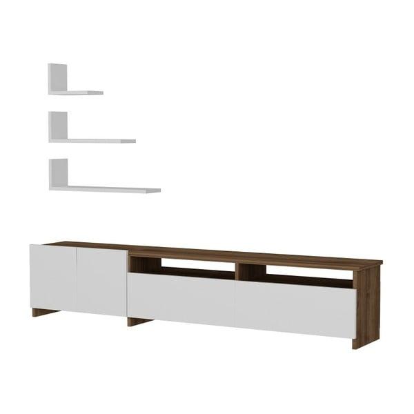 Gardo Gelincik fehér TV-állvány és 3 polc, diófa dekor