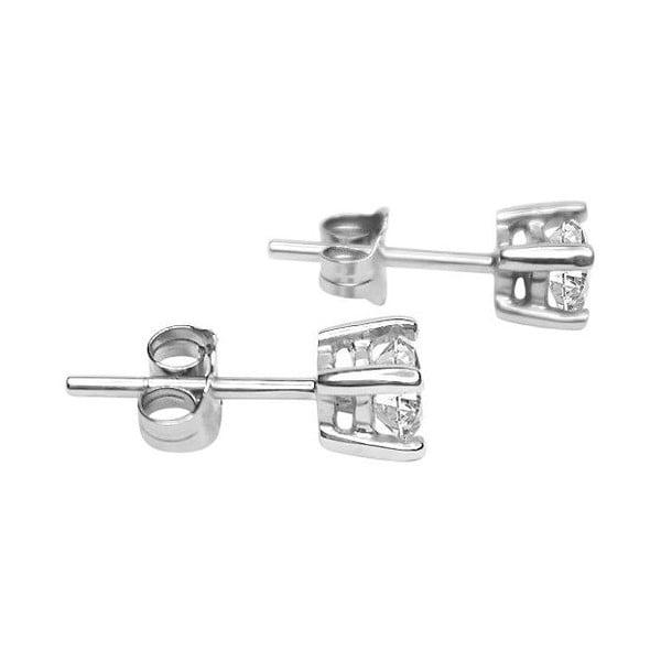 Náušnice Four Prong s diamantem, stříbrné