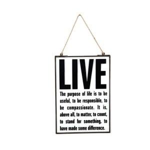 Skleněná tabulka s nápisem Live, 22x33 cm