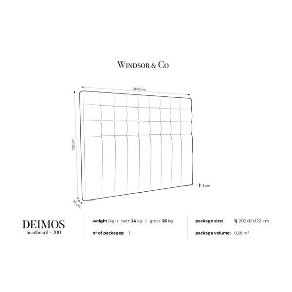 Šedé čelo postele Windsor & Co Sofas Deimos, 200 x 120 cm