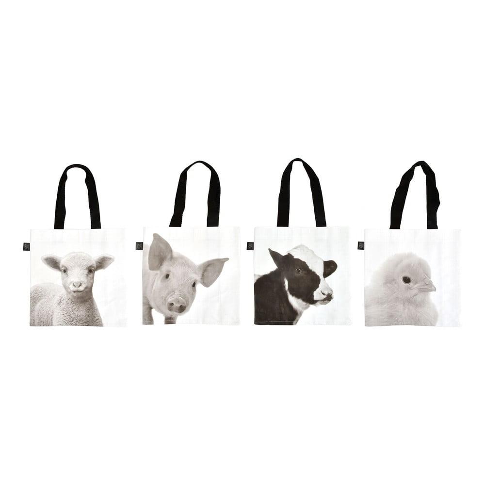 4 látkové nákupní tašky s potiskem farmářských zvířat Esschert Design