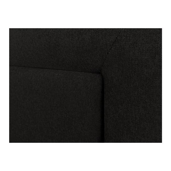 Černé čelo postele Mazzini Sofas Ancona, 140 x 120 cm