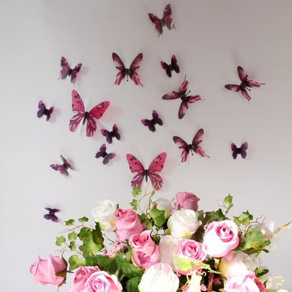 Trojrozměrné samolepky motýlků, barva růžová