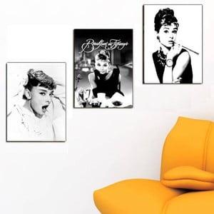 3dílný obraz Audrey Hepburn, 45x90 cm