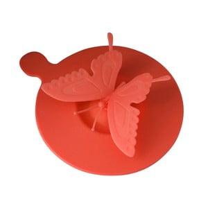 Silikonové víčko na hrnky Butterfly, červené