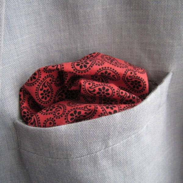 Lososový kapesníček s paisley do saka