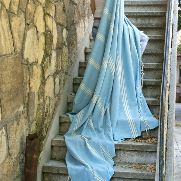 Hamam osuška ZikZak Turquoise, 180x230 cm
