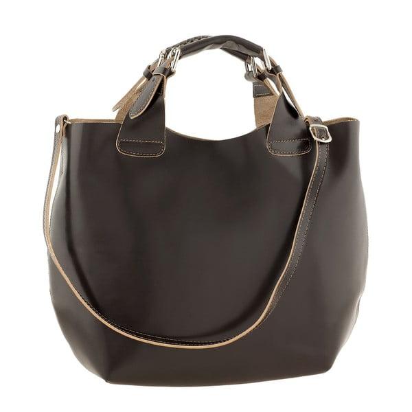 Kožená kabelka Everyday Italia, tmavě hnědá