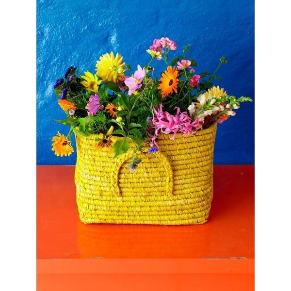 Modrý košík z rýžových vláken, 30 cm