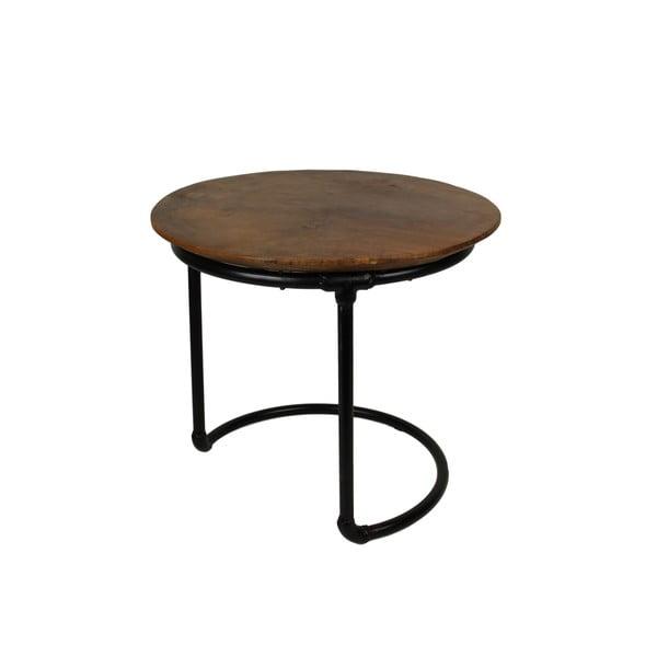 Odkládací stolek z teakového dřeva a kovu HSM collection Kruk