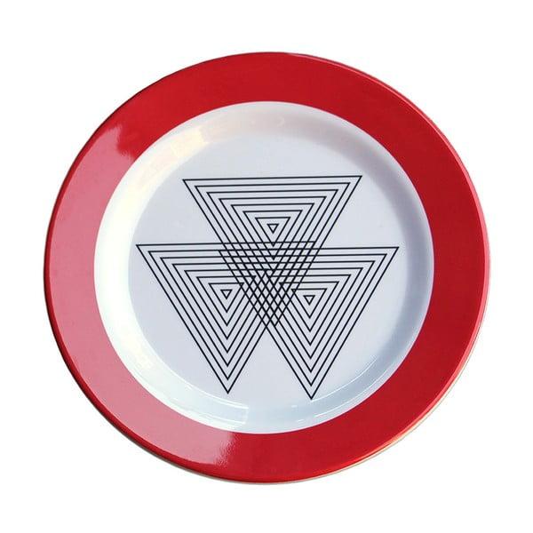 Sada 6 melaminových talířků Sunvibes Maillon Rouge, Ø 20 cm