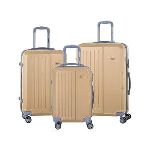 Sada 3 cestovních kufrů v barvě šampaň na kolečkách se kódovým zámkem SINEQUANONE