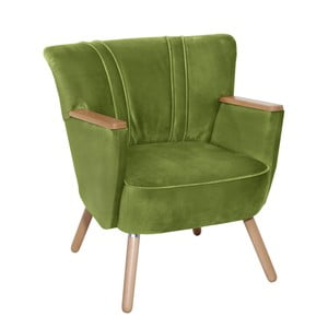 Olivově zelené křeslo Max Winzer Laurin Velvet