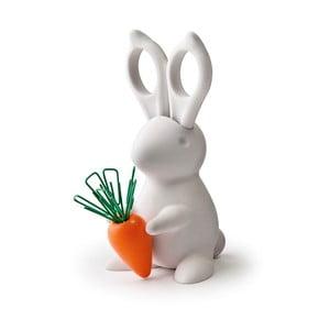 Bílý stojánek s nůžkami Qualy&CO Desk Bunny Scissors