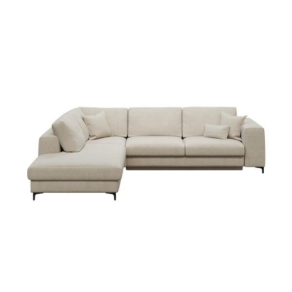 Rothe világosbézs ötszemélyes kinyitható kanapé, bal oldali - devichy