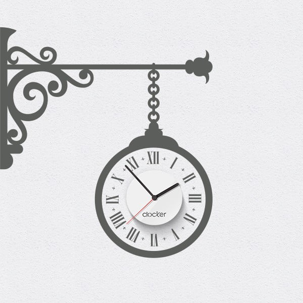 Hodiny se samolepkou Street clock, šedá