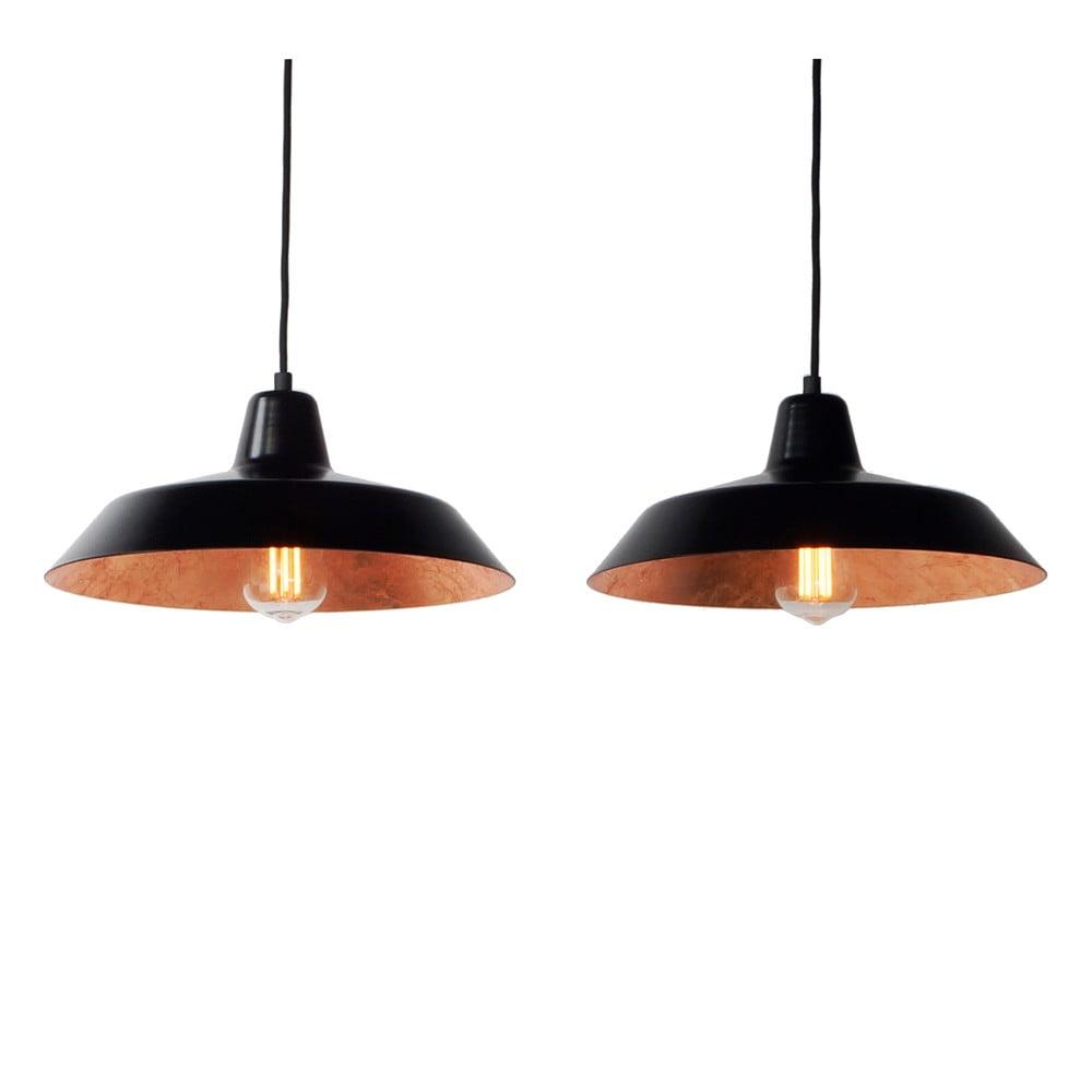 Závěsné svítidlo se 2 černými kabely a stínidly v černé a měděné barvě Bulb Attack Cinco