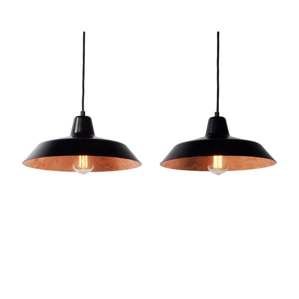 Lampa wisząca z 2 czarnymi kablami i kloszami w czarnym oraz w kolorze miedzi Bulb Attack Cinco