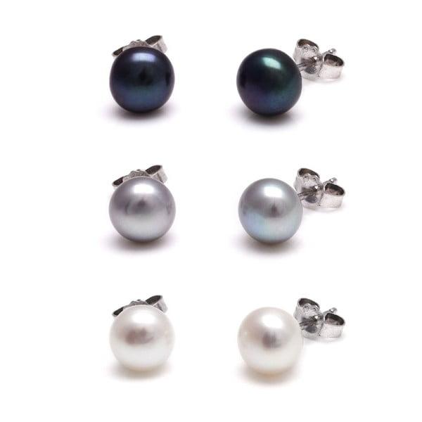 Sada 3 náušnice z říčních perel Freshwater