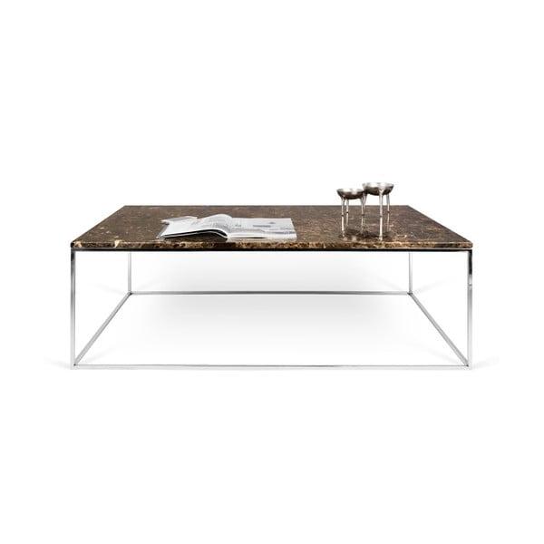 Hnědý mramorový konferenční stolek s chromovými nohami TemaHome Gleam, 120 cm