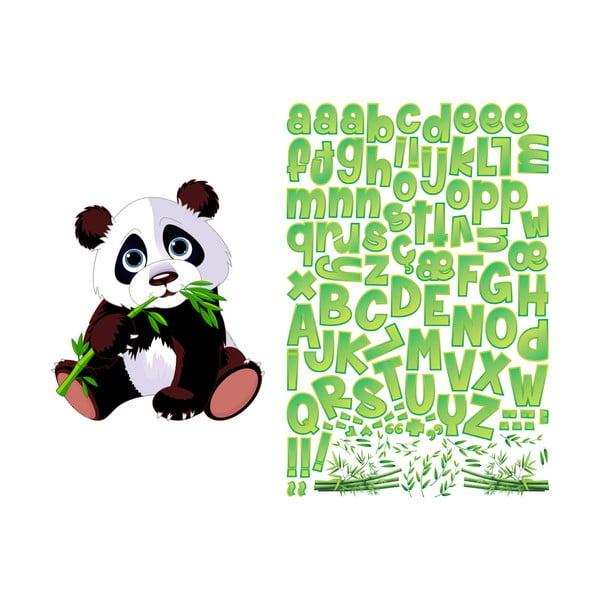 Set autocolante pentru perete cu panda și litere Ambiance Bamboo