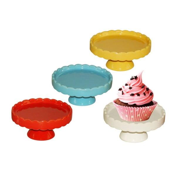 Sada 4 porcelánových podnosů na cupcake