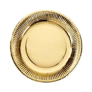 Sada 8 papírových talířků zlaté barvy Talking tables Metallics,⌀23cm