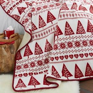 Červený přehoz Catherine Lansfield Nordic Winter, 170x130cm