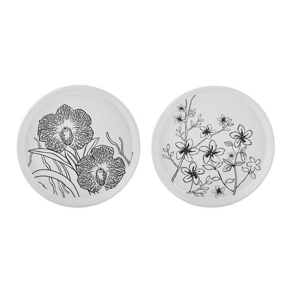 Sada 2 podtácků pod svíčku KJ Collection White Flower