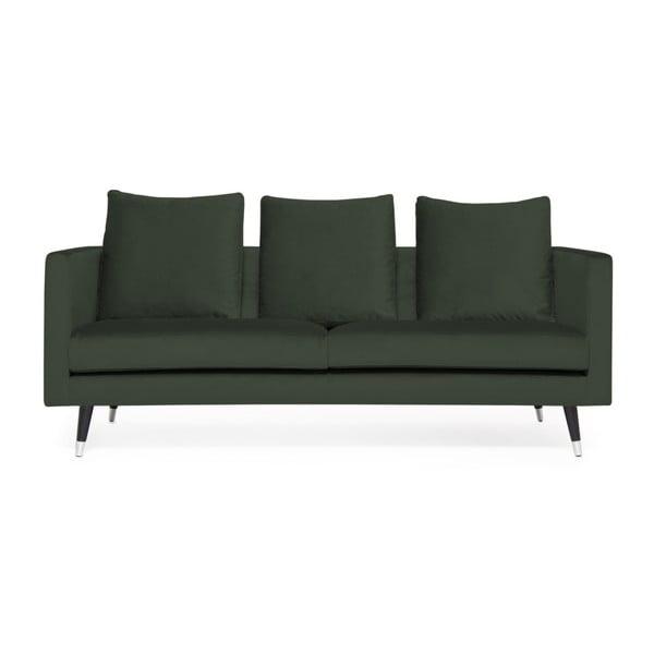 Tmavě zelená trojmístná pohovka s nohami ve stříbrné barvě Vivonita Harper Velvet
