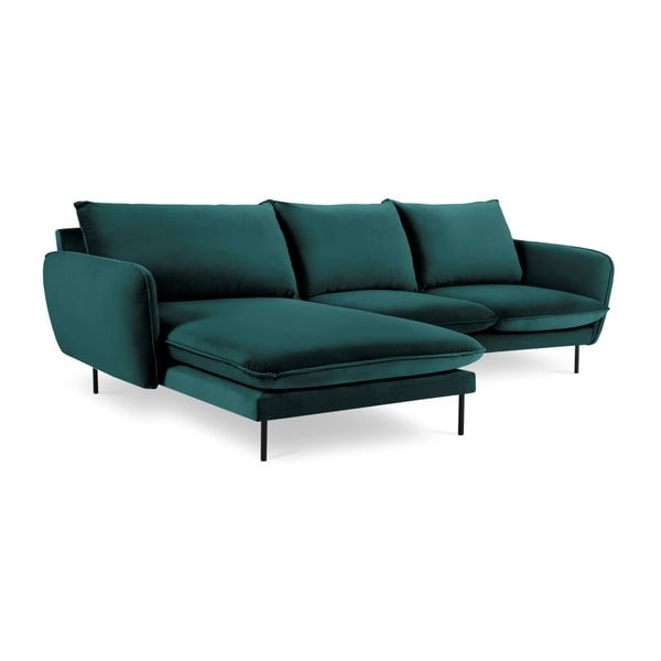 Ciemnozielona narożna aksamitna sofa lewostronna Cosmopolitan Design Vienna
