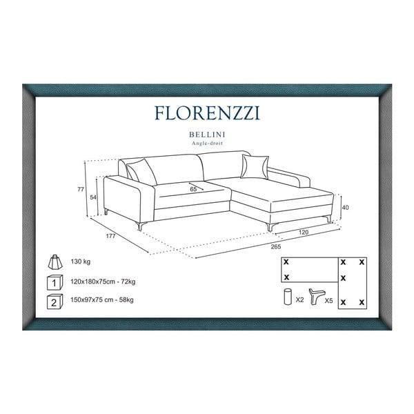 Hnědá pohovka Florenzzi Bellini s lenoškou na pravé straně