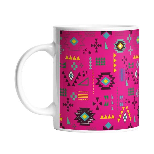 Keramický hrnek Pink Aztec, 330 ml