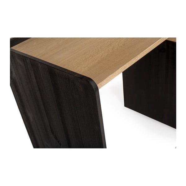 Pracovní stůl z borovicového a dubového dřeva se 3 zásuvkami Askala Tramonto