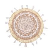 Kruhový koberec zjuty abavlny InArt White Mandala, ⌀90cm